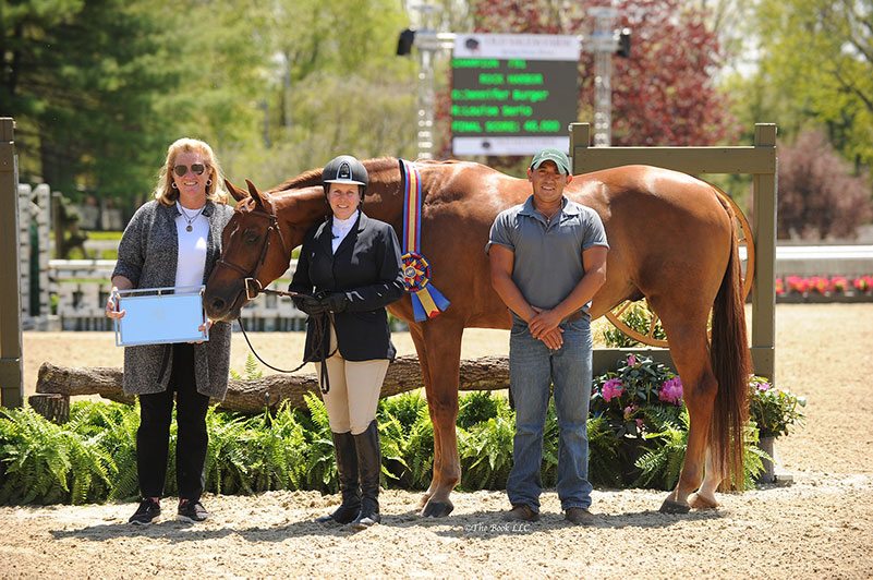 Louise Serio and Rock Harbor in their Grand Hunter Champion presentation with owner Jennifer Burger and groom Efren Robollo; photo © The Book