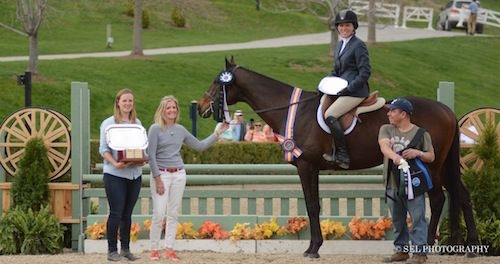 Keirstin Johnsen and Hennepin with Caitlin Malloy Brennan, owner Shelly Ferall and groom after winning High Point Thoroughbred; photo © Sarah Latterner