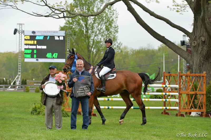 Adrienne Iverson and Donar R in their winner's presentation with Kamran Hakim and Alan Bietsch of Old Salem Farm; photo © The Book