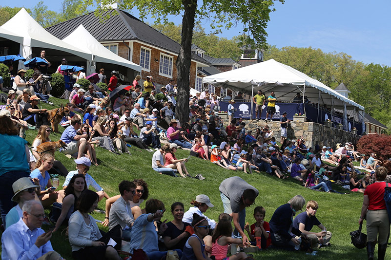 Spectators gather on the bank to catch a glimpse of the action on the Grand Prix Field; photo © Jump Media