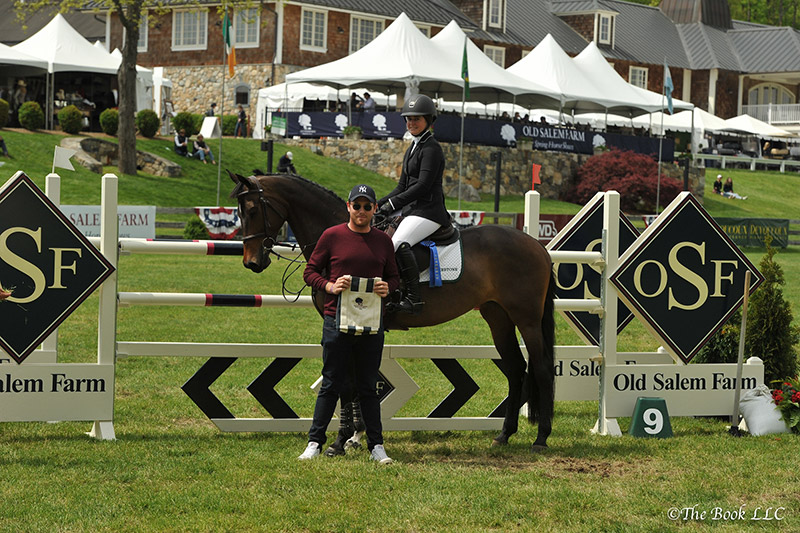 Christina Firestone and Arwen in their winner's presentation with Rob Gray of T & R Development; photo © The Book LLC