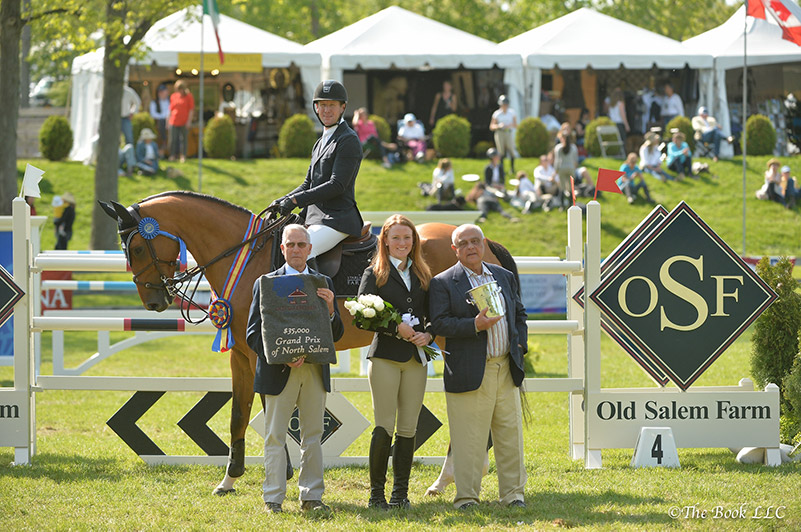 McLain Ward in his winner's presentation with Bruce Thompson representing The Town of North Salem, Kyle Olson, and Kamran Hakim of Old Salem Farm; photo © The Book LLC