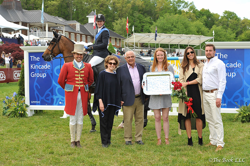 McLain Ward and Tina La Boheme in their winner's presentation with ringmaster Alan Keeley, Ellen and Kamran Hakim representing Old Salem Farm, Kyle Olson, Heather Jaffar, and Alex Fridell, Vice President of The Kincade Group; photo © The Book LLCMcLain Ward and Tina La Boheme in their winner's presentation with ringmaster Alan Keeley, Ellen and Kamran Hakim representing Old Salem Farm, Kyle Olson, Heather Jaffar, and Alex Fridell, Vice President of The Kincade Group; photo © The Book LLC