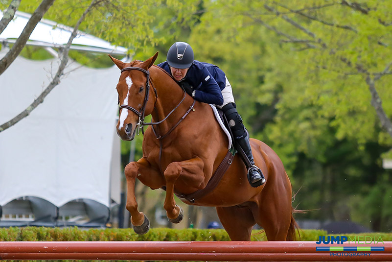 Lainie Wimberly and Southern Charm were named champions in The Jockey Club Thoroughbred Incentive Program (T.I.P.) $2,000 Low Thoroughbred Hunter 3' Division, held Sunday, May 7, during Welcome Day at Old Salem Farm in North Salem, NY; photo © Jump Media