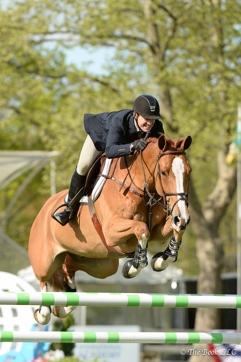 McLain Ward won the $10,000 Open Jumper 1.40m riding Balando on Wednesday, May 10, during the 2017 Old Salem Farm Spring Horse Shows at Old Salem Farm in North Salem, NY; photo © The Book