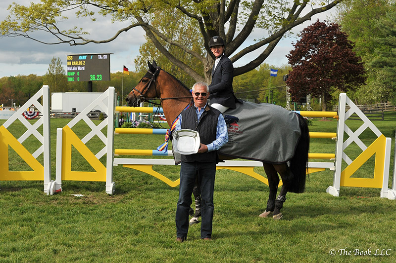 Alan Bietsch of Old Salem Farm presented McLain Ward and HH Carlos Z (shown here on Tina la Boheme) as winner of the $35,000 New York Welcome Stake CSI2* during the 2017 Old Salem Farm Spring Horse Shows at Old Salem Farm in North Salem, NY; photo © The Book