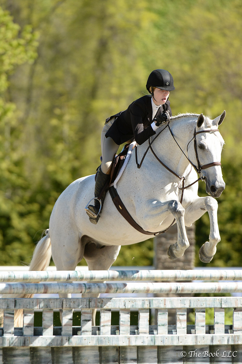 Early Winter, ridden by Aubrienne Krysiewicz-Bell, was named Grand Junior Hunter Champion on Sunday, May 14, during the 2017 Old Salem Farm Spring Horse Shows at Old Salem Farm in North Salem, NY; photo © The Book