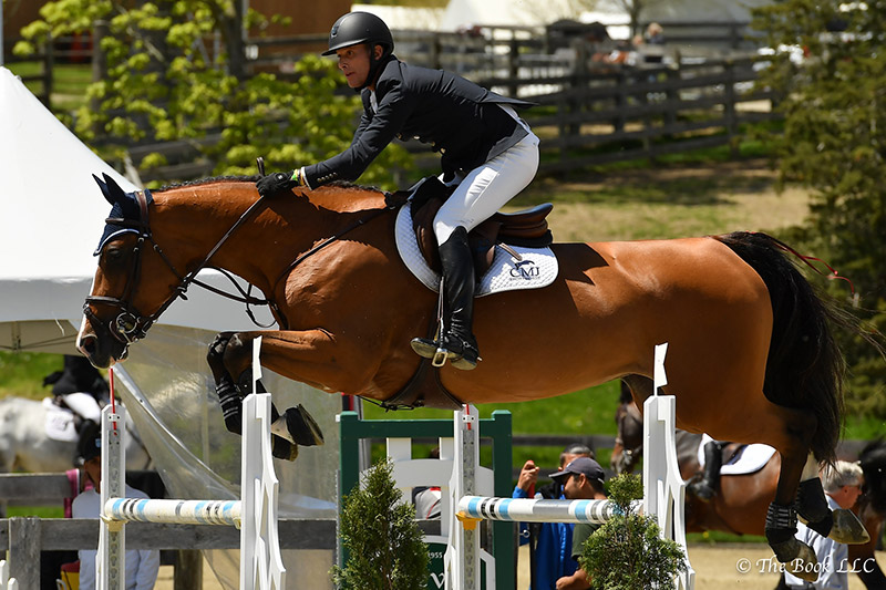 Charlie Jacobs and Cassinja S were third in the $50,000 Old Salem Farm Grand Prix, presented by The Kincade Group, on Sunday, May 14, during the 2017 Old Salem Farm Spring Horse Shows at Old Salem Farm in North Salem, NY; photo © The Book
