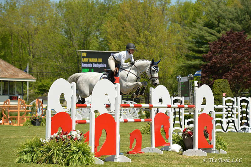 Amanda Derbyshire won the $10,000 Open Jumper 1.40m riding Lady Maria BH on Wednesday, May 17, during the 2017 Old Salem Farm Spring Horse Shows at Old Salem Farm in North Salem, NY; photo © The Book