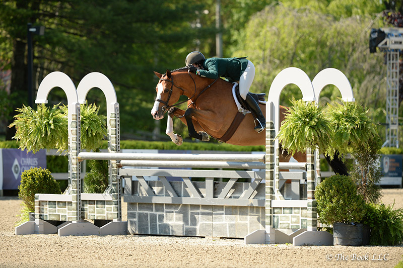Fetching, ridden by Patricia Griffith, was named Grand Hunter Champion on Wednesday, May 17, during the 2017 Old Salem Farm Spring Horse Shows at Old Salem Farm in North Salem, NY; photo © The Book
