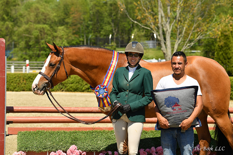 Patricia Griffith and Fetching, pictured with groom Humberto Valadez, were Champion in the High Performance Hunter Conformation Division, which won them a Grand Hunter Championship during the second week of the 2017 Old Salem Farm Spring Horse Shows at Old Salem Farm in North Salem, NY; photo © The Book