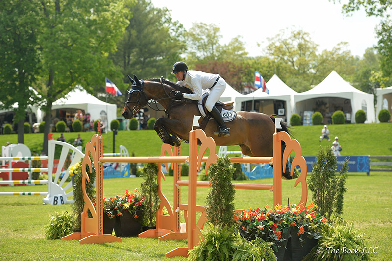 McLain Ward and HH Carlos Z won the $35,000 Welcome Stake of North Salem CSI3* on Thursday, May 18, during the 2017 Old Salem Farm Spring Horse Shows at Old Salem Farm in North Salem, NY; photo © The Book