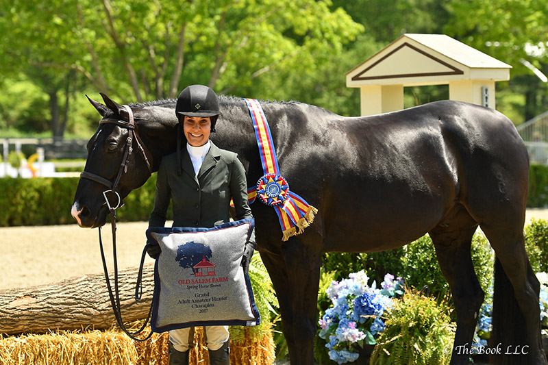 French Kiss, owned and ridden by Tina Allen, was named Grand Adult Amateur Hunter Champion on Thursday, May 18, at the 2017 Old Salem Farm Spring Horse Shows at Old Salem Farm in North Salem, NY; photo © The Book