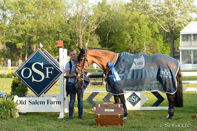 Christopher Cook was presented as winning jumper groom in the $5,000 Grooms' Class, presented by Old Salem Farm, with Tina La Boheme, owned by Susie Heller and McLain Ward; photo © The Book