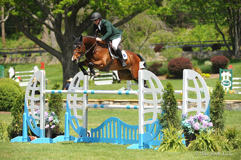 Jordan Coyle and his own Harakin Z were second in the $5,000 Under 25 1.45m, presented by Douglas Elliman Real Estate, on Friday, May 19, during the 2017 Old Salem Farm Spring Horse Shows at Old Salem Farm in North Salem, NY; photo © The Book