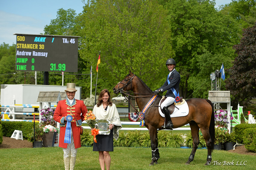 Maryann Knight Ekberg, Senior Vice President of Wells Fargo, The Private Bank, presented Andrew Ramsay and Stranger 30 as winners of the $35,000 Old Salem Farm Jumper Classic CSI3*, presented by Wells Fargo, The Private Bank, during the 2017 Old Salem Farm Spring Horse Shows at Old Salem Farm in North Salem, NY. Photo by The Book