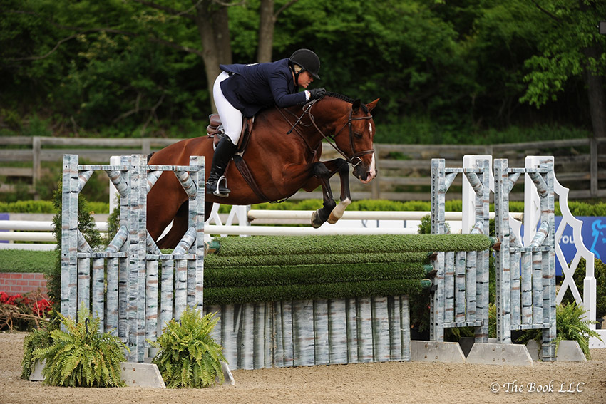Callie Seaman rode Skorekeeper to a victory in the $10,000 USHJA International Hunter Derby, presented by The Gochman Family, on Saturday, May 20, during the 2017 Old Salem Farm Spring Horse Shows at Old Salem Farm in North Salem, NY. Photo by The Book