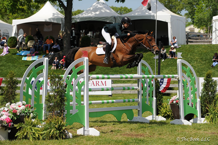 Madison Goetzmann and Prestigious won the $15,000 High Junior/Amateur-Owner Jumper Classic, presented by Beval Saddlery, on Sunday, May 21, during the 2017 Old Salem Farm Spring Horse Shows at Old Salem Farm in North Salem, NY. Photo by The Book