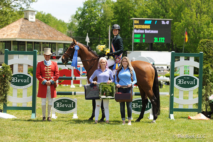 Christina Hearn of Beval Saddlery presented Madison Goetzmann and Prestigious as winners of the $15,000 High Junior/Amateur-Owner Jumper Classic, presented by Beval Saddlery, during the 2017 Old Salem Farm Spring Horse Shows at Old Salem Farm in North Salem, NY. Photo by The Book