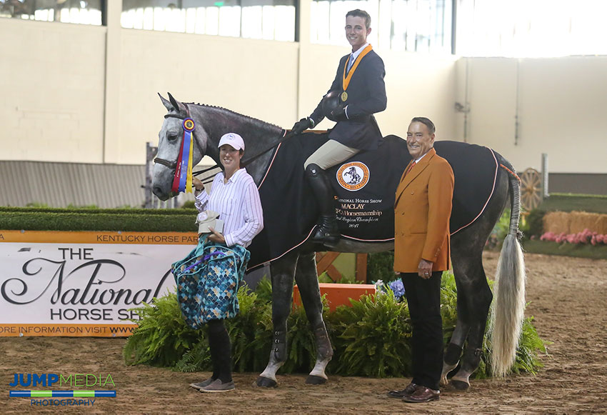 Cooper Dean, aboard Kori d'Oro with trainer Patricia Griffith, is presented as winner of the Region 1 ASPCA/NHSAA Maclay Championship by Mason Phelps, representing the CP National Horse Show. Photo by Jump Media