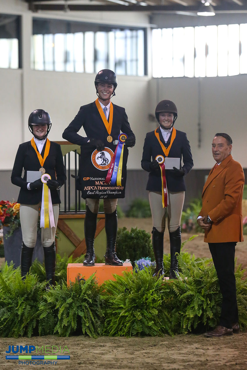 The Region 1 ASPCA/NHSAA Maclay Championship top three Cooper Dean (middle), Abigail Brayman (right), and Ava Stearns (left) with Mason Phelps, representing the CP National Horse Show. Photo by Jump Media