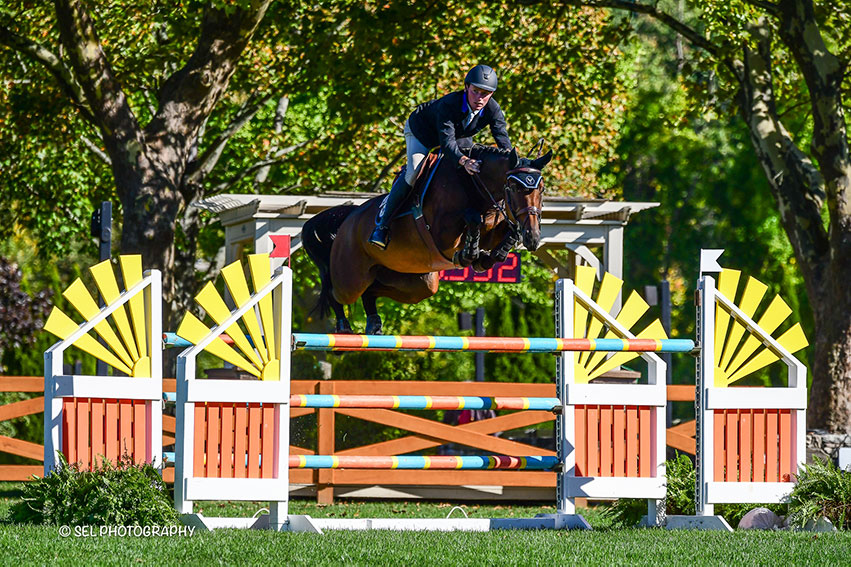 Stephen Moore and Scarlett du Sart Z won the Classic Champions Seven-Year-Old Jumper Final during the Old Salem Farm Fall Classic at Old Salem Farm in North Salem, NY. Photo by SEL Photography