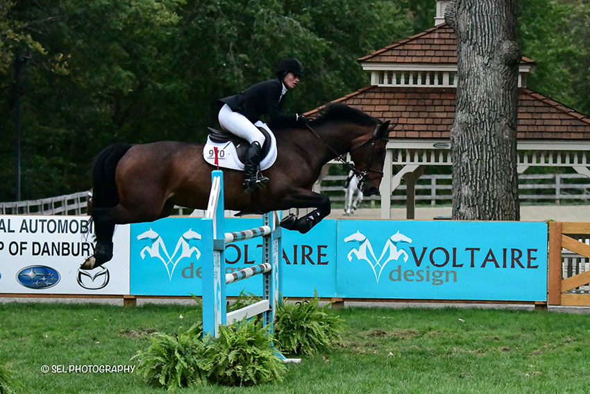 Katie Tyler and Shet du Thot won the $10,000 Voltaire Designs Mini Prix during the Old Salem Farm Fall Classic at Old Salem Farm in North Salem, NY. Photo by SEL Photography