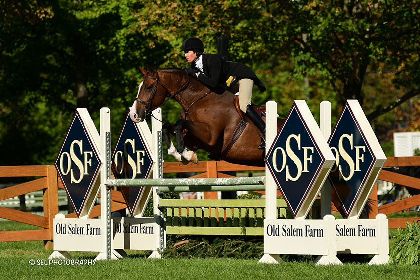 Merry Harding claimed the $5,000 Old Salem Farm Hunter Derby, presented by Colonial Automobile Group, riding Conrido during the Old Salem Farm Fall Classic at Old Salem Farm in North Salem, NY. Photo by SEL Photography