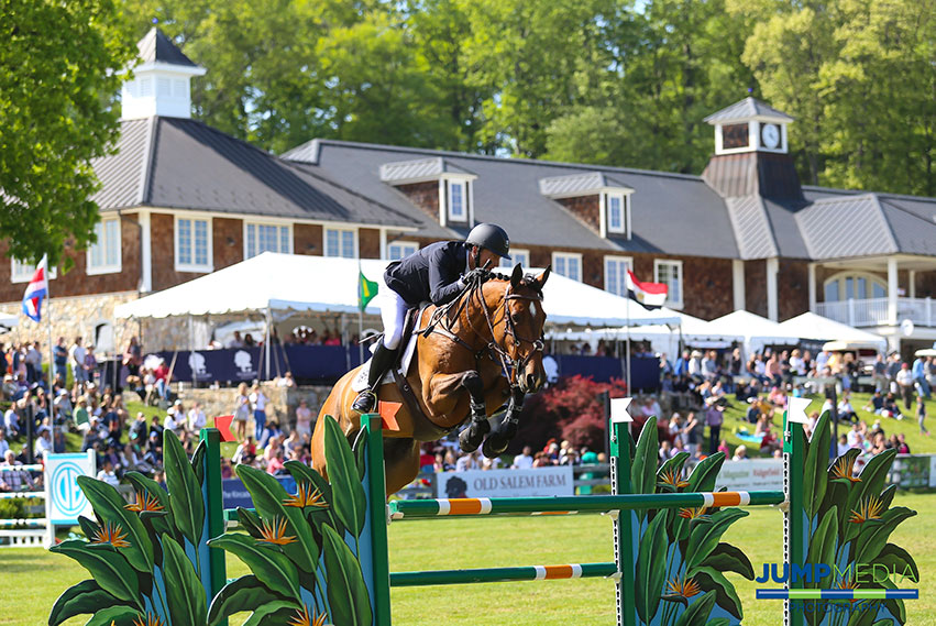 Andrew Ramsay and Cocq a Doodle claimed the $130,000 Empire State Grand Prix CSI3*, presented by the Kincade Group, as the featured event of the Old Salem Farm Spring Horse Shows in 2017. Photo by Jump Media