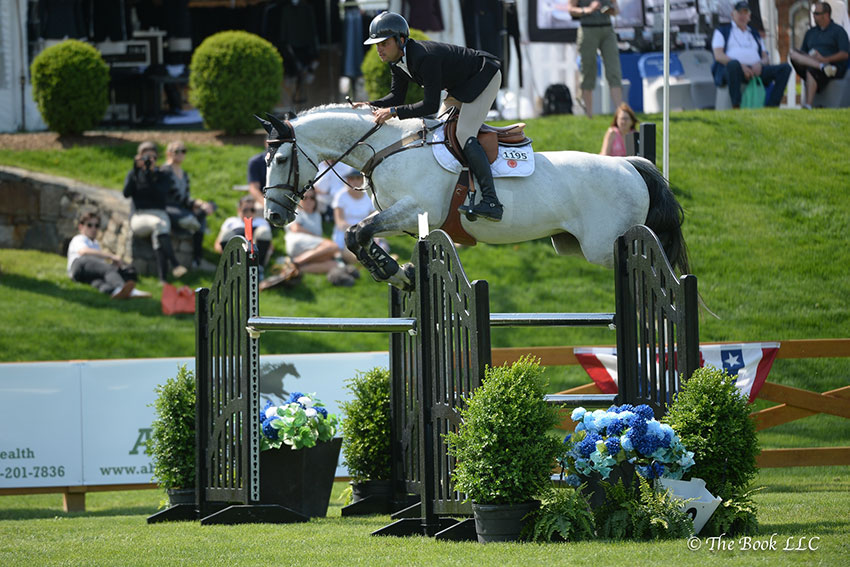 Daniel Bluman won the $5,000 Open Jumper 1.40m riding Cartouche on Wednesday, May 9, during the 2018 Old Salem Farm Spring Horse Shows at Old Salem Farm in North Salem, NY. Photo by The Book