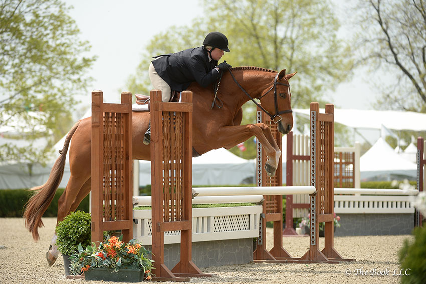 Hundred Acre and Barbara Spizzirro jumped to a championship ribbon in the Adult Amateur Hunter 36-39 division, which won them grand champion honors as well during the 2018 Old Salem Farm Spring Horse Shows at Old Salem Farm in North Salem, NY. Photo by The Book
