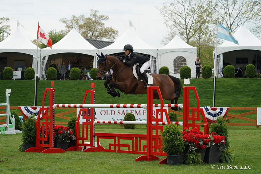 Sydney Shulman won the $10,000 New York Speed Stake CSI2* riding Ardente Printaniere on Thursday, May 10, during the 2018 Old Salem Farm Spring Horse Shows at Old Salem Farm in North Salem, NY. Photo by The Book