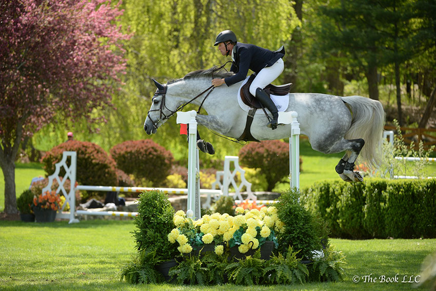 Peter Wylde and Bella Donna won the $6,500 Open Jumper 1.35m on Friday, May 11, during the 2018 Old Salem Farm Spring Horse Shows at Old Salem Farm in North Salem, NY. Photo by The Book