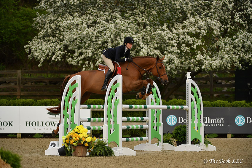Elli Yeager won the $5,000 Equitation Challenge riding Copperfield 39 on Saturday, May 12, during the 2018 Old Salem Farm Spring Horse Shows at Old Salem Farm in North Salem, NY. Photo by The Book