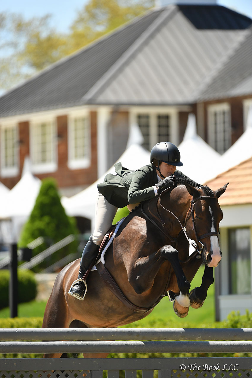 Chablis, ridden by Kelly Tropin, was named Grand Amateur-Owner Hunter Champion on Saturday, May 12, during the 2018 Old Salem Farm Spring Horse Shows at Old Salem Farm in North Salem, NY. Photo by The Book