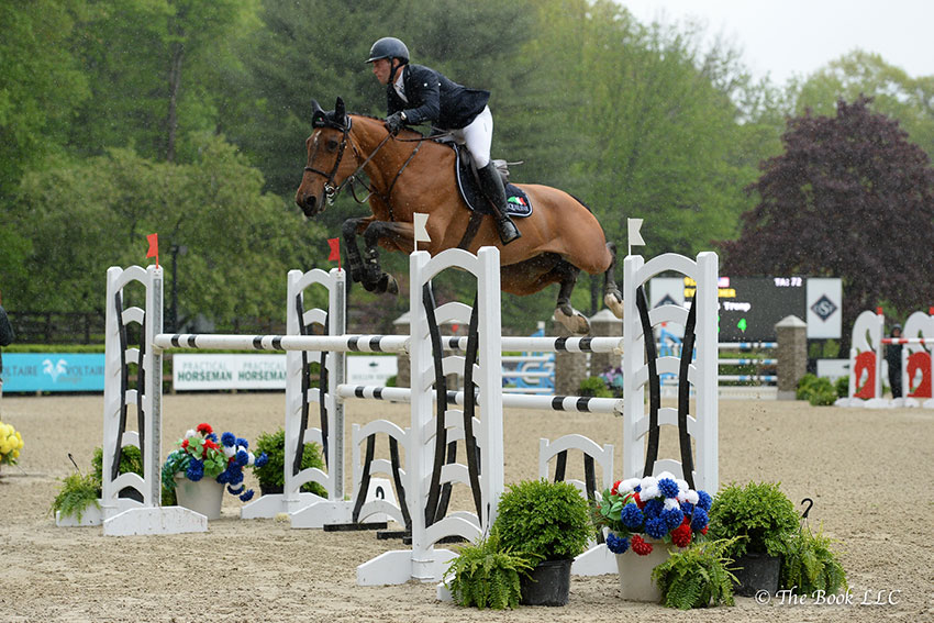 Mattias Tromp (USA) rode to victory in the $10,000 Old Salem Speed Stake CSI3* aboard Eyecatcher on Wednesday, May 16, during the 2018 Old Salem Farm Spring Horse Shows at Old Salem Farm in North Salem, NY. Photo by The Book