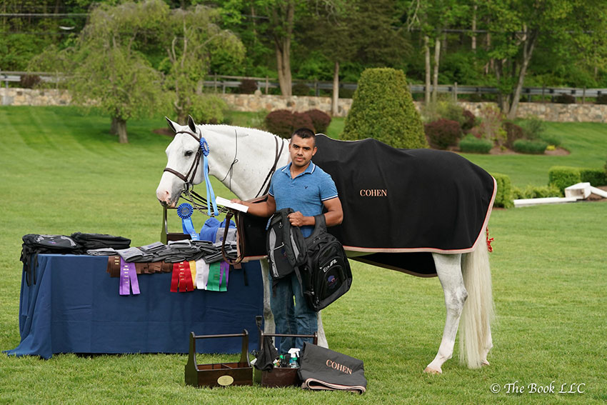 Jose Vargas scored a win in the hunter section of the $5,000 Old Salem Farm Grooms' Class with Millennial, owned by Sophie Cohen, at the 2018 Old Salem Farm Spring Horse Shows at Old Salem Farm in North Salem, NY. Photo by The Book