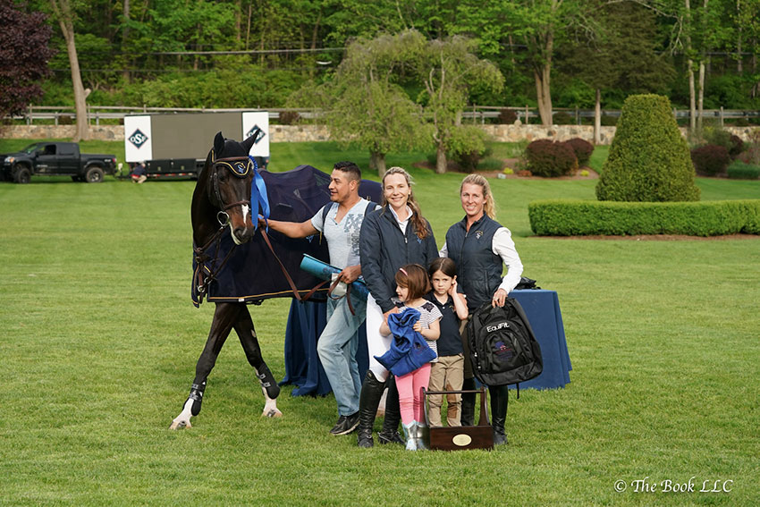 Levy Reyes won the jumper section of the $5,000 Old Salem Farm Grooms' Class with Air Pia VG Z, owned by Swede Ventures, LLC, at the 2018 Old Salem Farm Spring Horse Shows at Old Salem Farm in North Salem, NY. Photo by The Book