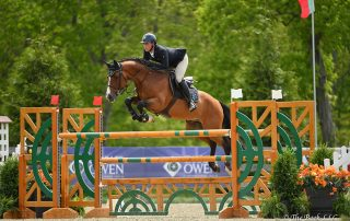 Mattias Tromp of North Salem, NY, won the $5,000 Under 25 Jumper 1.45m riding Avon on Friday, May 18, during the 2018 Old Salem Farm Spring Horse Shows at Old Salem Farm in North Salem, NY. Photo by The Book