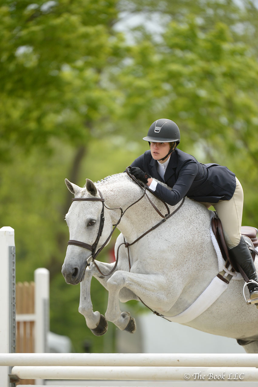 Grey Street, ridden by Dana Schwartz and owned by Vlock Show Stables, LLC, was named Grand Amateur-Owner Hunter Champion on Saturday, May 19, at the 2018 Old Salem Farm Spring Horse Shows. Photo by The Book