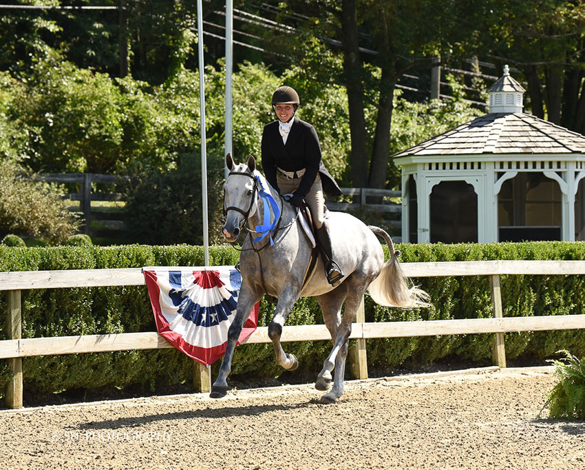 Keirstin Johnsen claimed the Old Salem Farm Hunter Derby riding Calani on the final day of the Old Salem Farm Fall Classic. Photo by SEL Photography