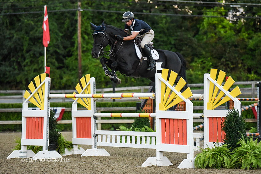 Ireland's Kevin Mealiff won the $10,000 Voltaire Designs Mini Prix riding Dante at the Old Salem Farm Fall Classic. Photo by SEL Photography