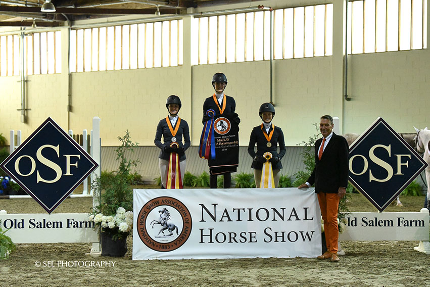 Annabel Revers stood atop the podium for the Region 1 ASPCA/NHSAA Maclay Championships, while Coco Fath took second and Daisy Farish earned third. Photo by SEL Photography