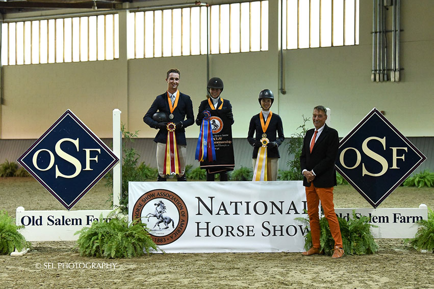 Winner Taylor Griffiths is joined on the podium by runner up Maverick Helmer and third-place finisher Abigail Lefkowitz after the Region 2 ASPCA/NHSAA Maclay Championships. Photo by SEL Photography