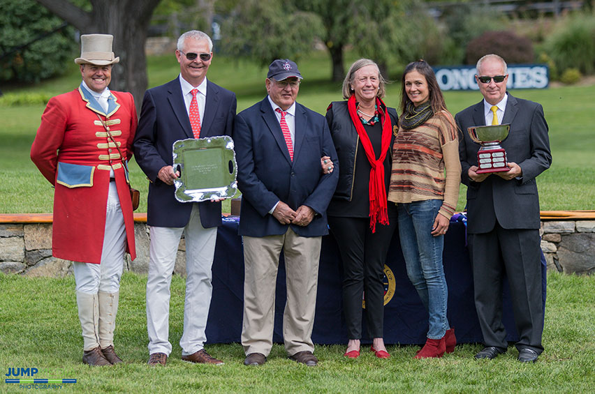 From left to right: Ringmaster Alan Keeley, Old Salem Farm Manager Alan Bietsch, Old Salem Farm Foundation Lifetime Achievement Award recipient Ralph Caristo, Holly Caristo, Heather Caristo-Williams, and Michael Morrissey of Morrissey Management Group. Photo by Jump Media